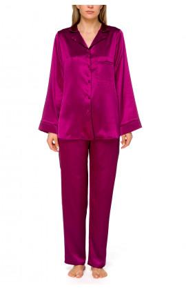 Loose-fitting, long sleeve 2-piece satin pyjamas with straight-cut bottoms
