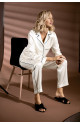 Loose-fitting, long sleeve 2-piece satin pyjamas with straight-cut bottoms - Coemi-lingerie