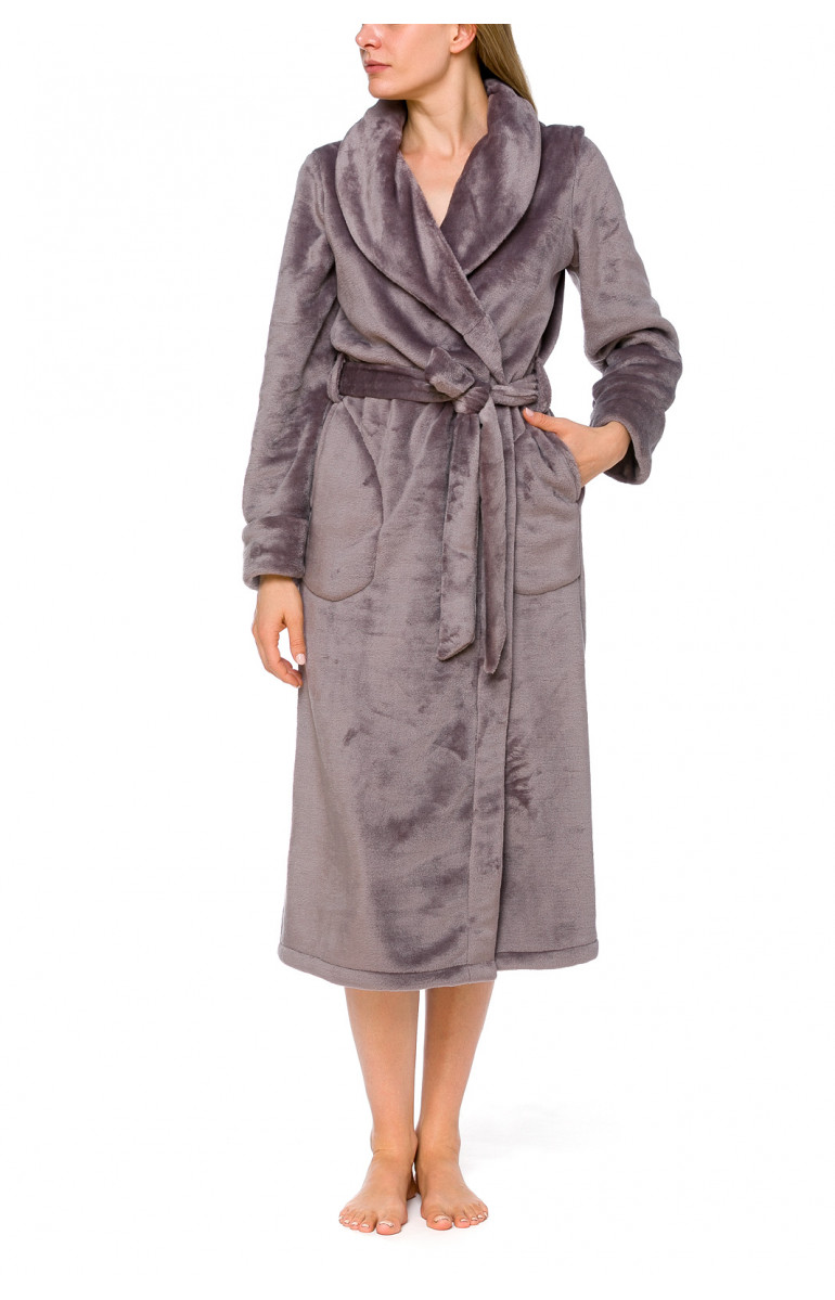 Long bathrobe in terry cloth fleece with shawl collar and long sleeves - Coemi-lingerie