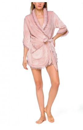 Short fleece bathrobe with three-quarter length sleeves with gathers and frills - Coemi-lingerie