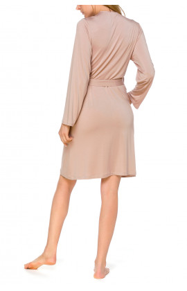 Classic mid-length, fitted dressing gown with long sleeves in a blend of micromodal and elastane - Coemi-lingerie