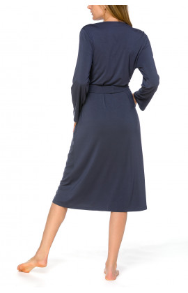 Classic, long, fitted dressing gown with long sleeves, in a blend of micromodal and elastane - Coemi-lingerie