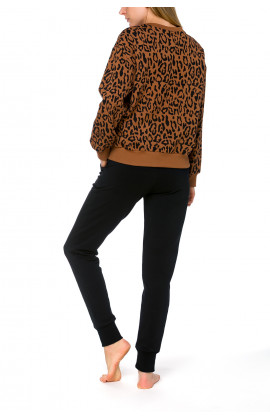 Warm and cosy sweat pants with panther motif or plain black - Coemi-lingerie